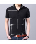 Langbeeyar Black White Lining Breathable Cotton T Shirt